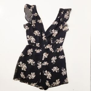 UO Black/White Floral Cap Ruffle Sleeve  Romper
